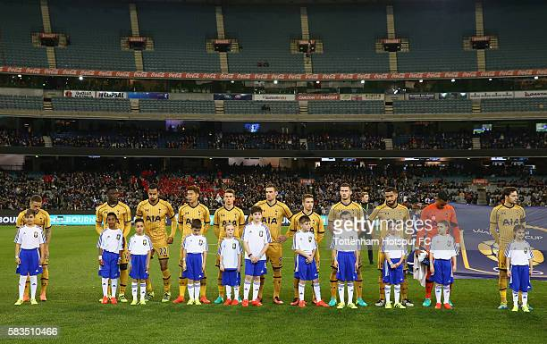 Tottenham Hotspur line up for the 2016 International Champions Cup match between Juventus FC and Tottenham Hotspur at Melbourne Cricket Ground on...