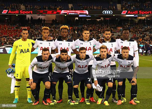 Tottenham Hotspur line up for the 2016 International Champions Cup Australia match between Tottenham Hotspur and Atletico de Madrid at Melbourne...