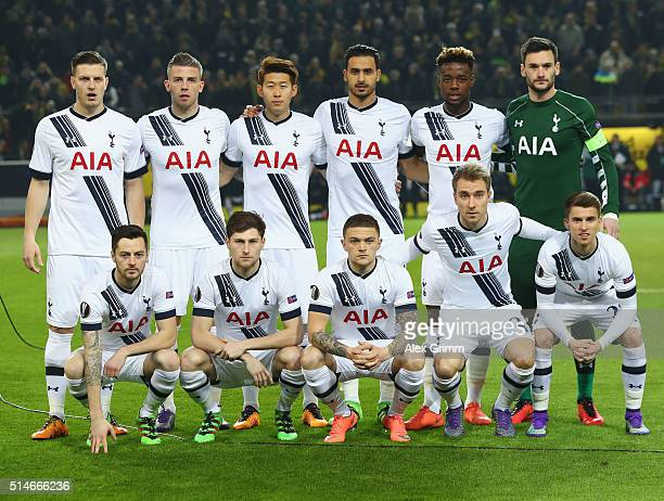 Tottenham Hotspur line up prior to the UEFA Europa League Round of 16 first leg match between Borussia Dortmund and Tottenham Hotspur at Signal Iduna...