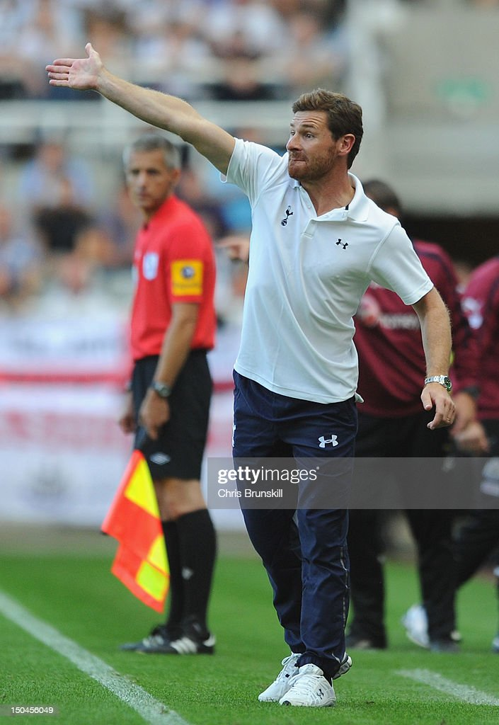 Tottenham Hotspur Manager Andre Villas-Boas gestures during the Barclays Premier League match between Newcastle United and Tottenham Hotspur at Sports Direct Arena on August 18, 2012 in Newcastle upon Tyne, England.