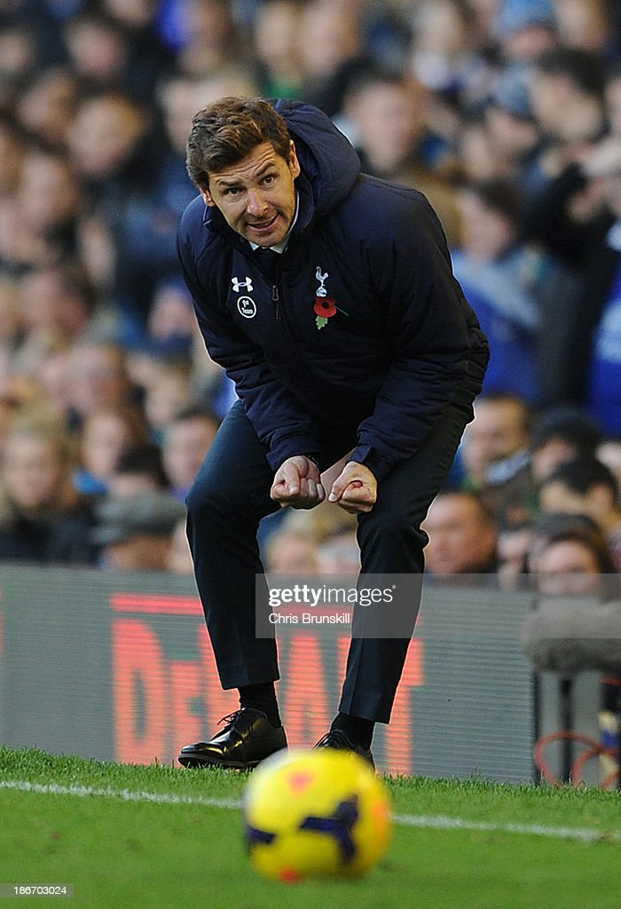 Tottenham Hotspur manager Andre Villas-Boas reacts on the touchline during the Barclays Premier League match between Everton and Tottenham Hotspur at Goodison Park on November 03, 2013 in Liverpool, England.