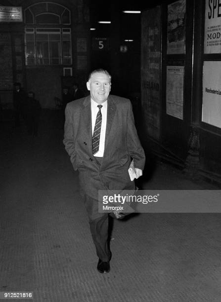 Tottenham Hotspur manager Bill Nicholson hurries out of Preston Station as he tries to make his way to Deepdale to catch the FA Cup replay match...