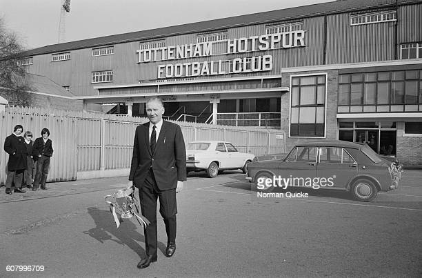 Tottenham Hotspur manager Bill Nicholson with the Football League Cup outside the team's club headquarters London UK 1st March 1971 Spurs beat Aston...