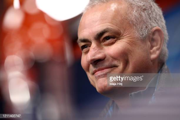Tottenham Hotspur manager José Mourinho speaks to the media during a Press Conference at the Red Bull Arena on March 09, 2020 in Leipzig, Germany. RB...