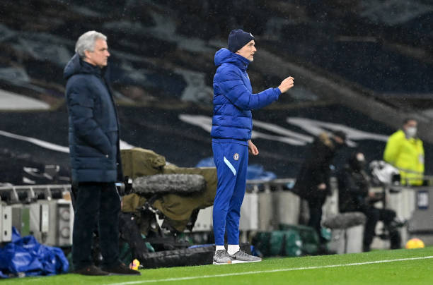 Tottenham Hotspur manager Jose Mourinho and Chelsea manager Thomas Tuchel on the touchline during the Premier League match at the Tottenham Hotspur...