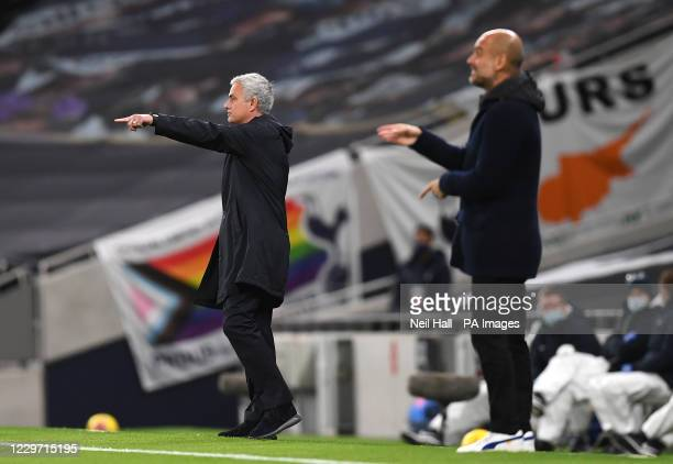 Tottenham Hotspur manager Jose Mourinho and Manchester City manager Pep Guardiola on the touchline during the Premier League match at the Tottenham...