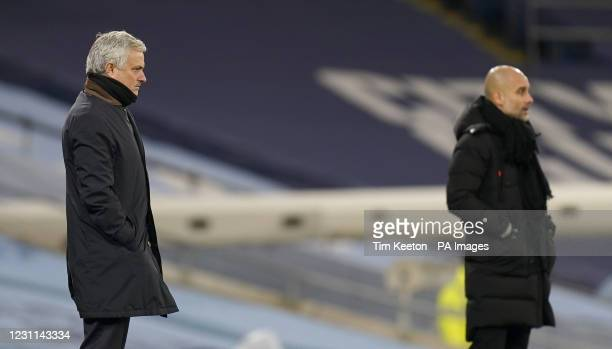 Tottenham Hotspur manager Jose Mourinho and Manchester City manager Pep Guardiola on the touchline during the Premier League match at the Etihad...