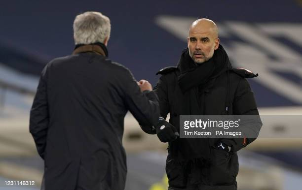 Tottenham Hotspur manager Jose Mourinho and Manchester City manager Pep Guardiola at the final whistle after the Premier League match at the Etihad...