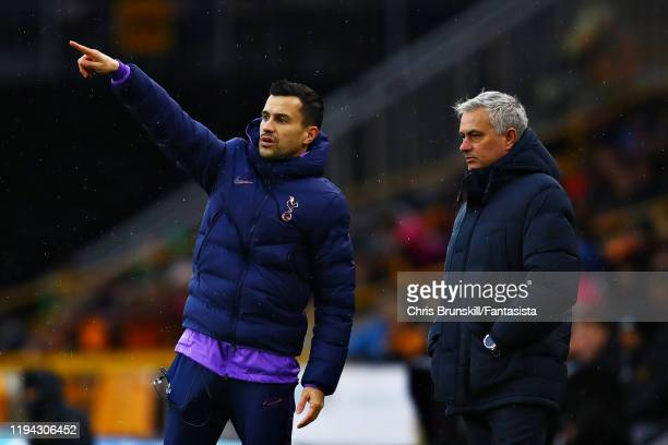 Tottenham Hotspur manager Jose Mourinho next to his assistant Joao Sacramento during the Premier League match between Wolverhampton Wanderers and...