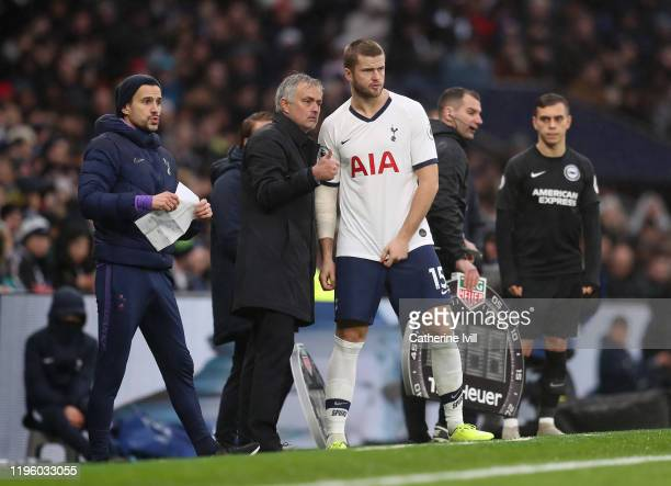 Tottenham Hotspur Manager Jose Mourinho talks with Eric Dier during the Premier League match between Tottenham Hotspur and Brighton & Hove Albion at...