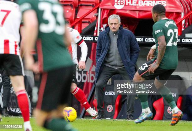 Tottenham Hotspur manager Jose Mourinho watches on during the Premier League match between Sheffield United and Tottenham Hotspur at Bramall Lane on...