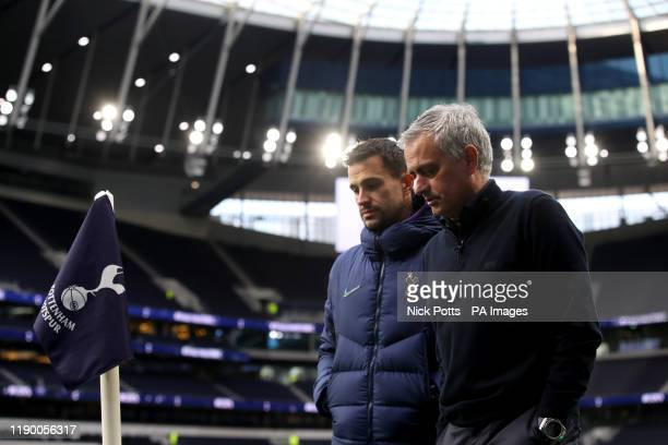 Tottenham Hotspur manager Jose Mourinho with assistant Joao Sacramento ahead of the Premier League match at Tottenham Hotspur Stadium London