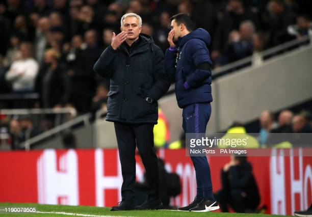 Tottenham Hotspur manager Jose Mourinho with assistant Joao Sacramento during the Premier League match at Tottenham Hotspur Stadium London