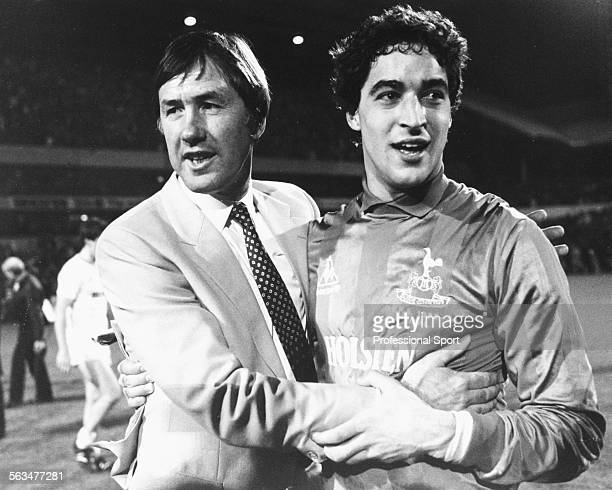 Tottenham Hotspur manager Keith Burkinshaw congratulates his goalkeeper Tony Parks who has just saved a vital penalty kick for the team to win the...