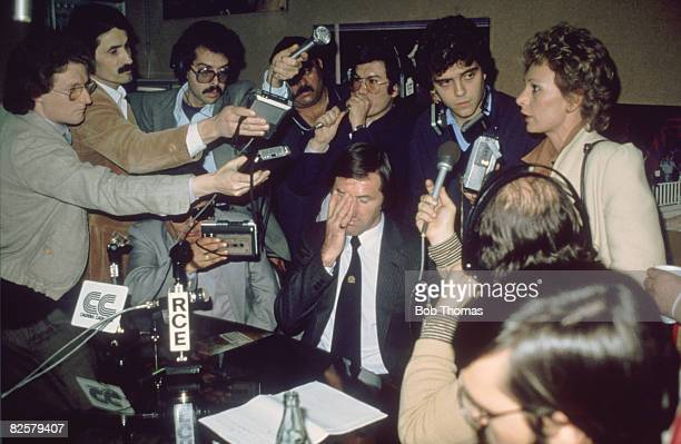 Tottenham Hotspur manager Keith Burkinshaw showing signs of strain at a postmatch press conference after his side lost to FC Barcelona 10 in the UEFA...