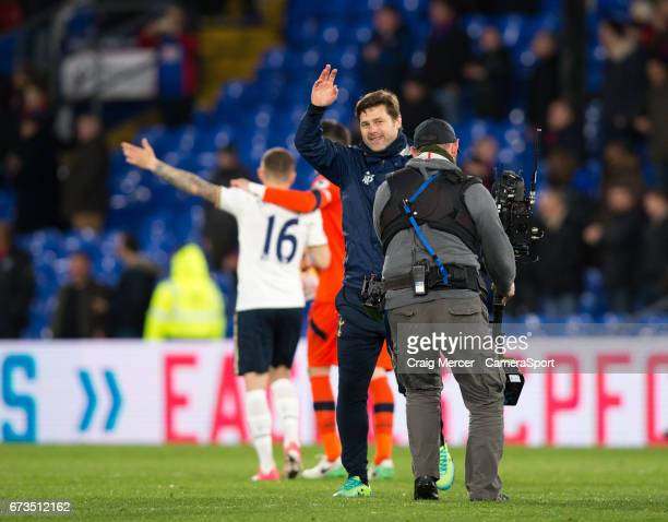 Tottenham Hotspur manager Mauricio Pochettino applauds the fans after the Premier League match between Crystal Palace and Tottenham Hotspur at...