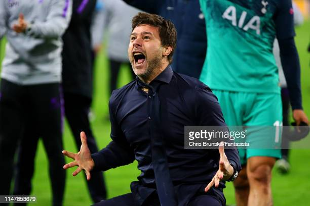 Tottenham Hotspur manager Mauricio Pochettino celebrates at fulltime following the UEFA Champions League Semi Final second leg match between Ajax and...