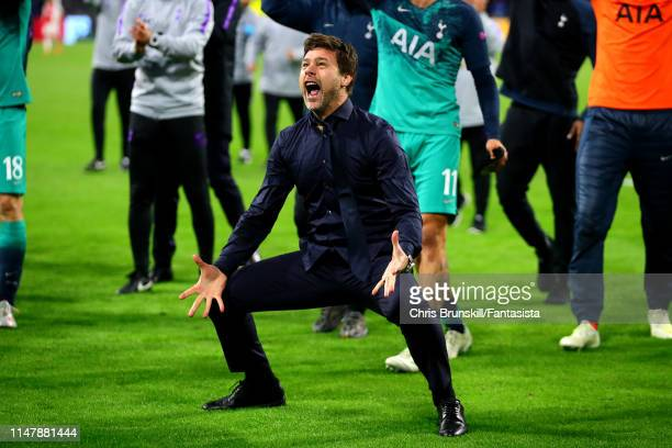 Tottenham Hotspur manager Mauricio Pochettino celebrates at full-time following the UEFA Champions League Semi Final second leg match between Ajax...