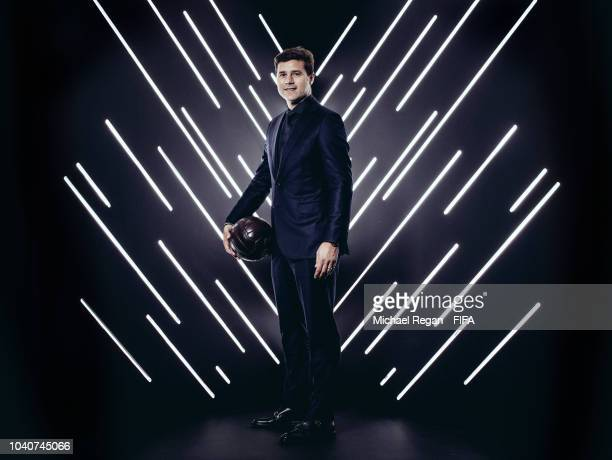 Tottenham Hotspur manager Mauricio Pochettino is pictured inside the photo booth prior to The Best FIFA Football Awards at Royal Festival Hall on...