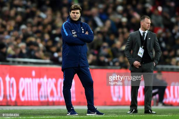 Tottenham Hotspur manager Mauricio Pochettino watches on during the FA Cup Fourth Round replay match between Tottenham Hotspur and Newport County at...