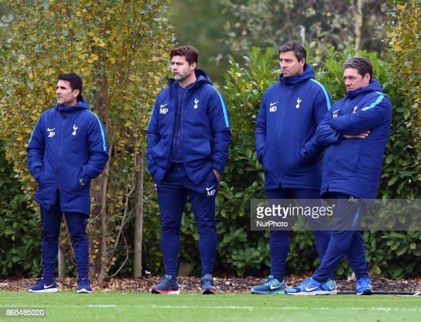 Tottenham Hotspur manager Mauricio Pochettino watching Tottenham Hotspur Under 23s during Premier League 2 Div 1 match between Tottenham Hotspur...