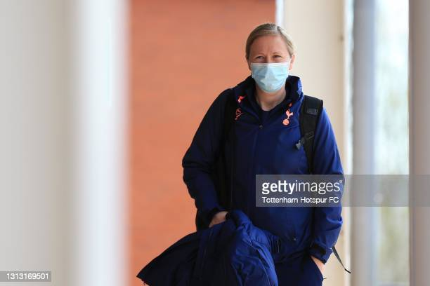 Tottenham Hotspur Manager Rehanne Skinner arrives during the Vitality Women's FA Cup Fourth Round match between Reading Women and Tottenham Hotspur...