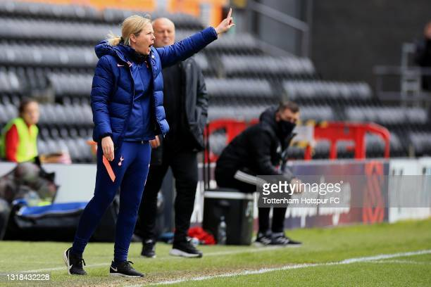 Tottenham Hotspur Manager Rehanne Skinner during the Vitality Women's FA Cup 5th Round match between Tottenham Hotspur Women and Sheffield United...