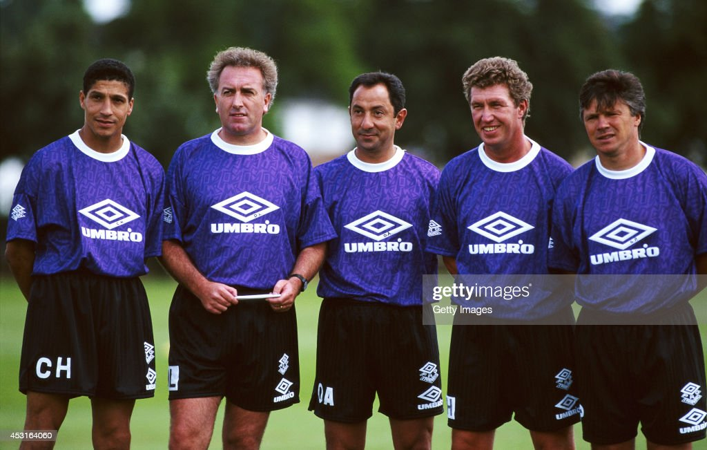 Tottenham Hotspur mananger Osvaldo Ardiles (c) with his coaching staff including former players Chris Hughton (l) and Steve Perryman (r) circa 1993.
