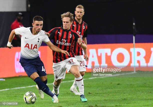 Tottenham Hotspur midfielder Anthony Georgiou as Milan defender Mateo Musacchio gives chase runs with the ball during an International Champions Cup...