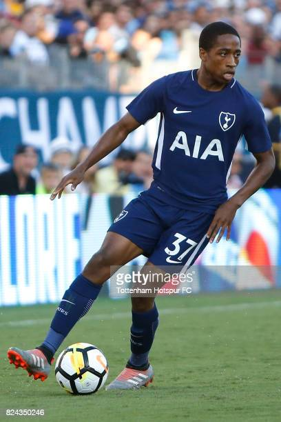 Tottenham Hotspur midfielder Kyle WalkerPeters in action against Manchester City during the International Champions Cup 2017 at Nissan Stadium on...
