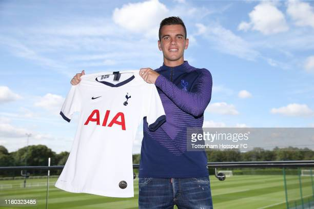 Tottenham Hotspur new loan signing Giovani Lo Celso poses for a photograph at Tottenham Hotspur Training Centre on August 08 2019 in Enfield England