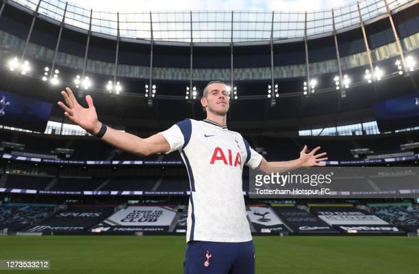 Tottenham Hotspur new signing Gareth Bale visits the Tottenham Hotspur Stadium on September 19 2020 in London England
