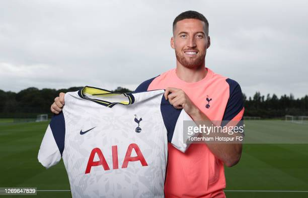 Tottenham Hotspur new signing Matt Doherty poses for a photo at Tottenham Hotspur Training Centre on August 30, 2020 in Enfield, England.