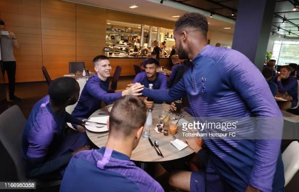 Tottenham Hotspur new signing Ryan Sessegnon meets his new team mates prior to the Tottenham Hotspur training session at Tottenham Hotspur Training...