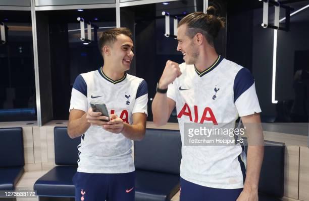 Tottenham Hotspur new signings Gareth Bale and Sergio Reguilon visit the Tottenham Hotspur Stadium on September 19 2020 in London England