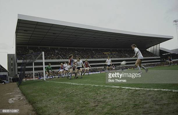 Tottenham Hotspur play Aston Villa in an English FA Cup Fifth Round match at Tottenham Hotspur's White Hart Lane ground London 13th February 1982...