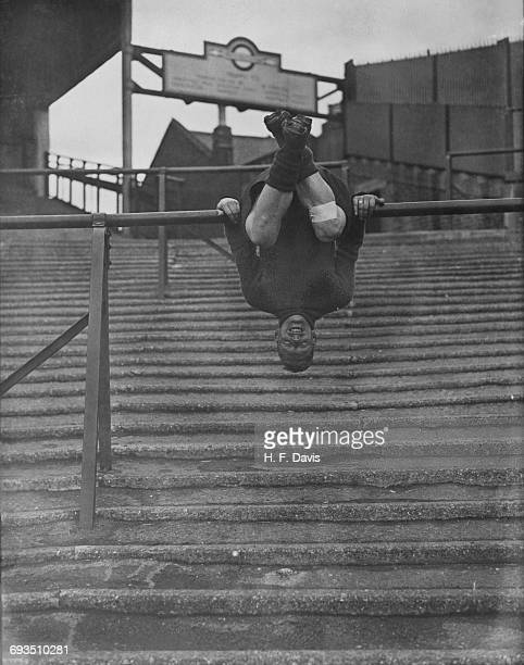 Tottenham Hotspur player Willie Hall doing some bar work on the terraces during a training session at Spurs' White Hart Lane ground London 1st March...