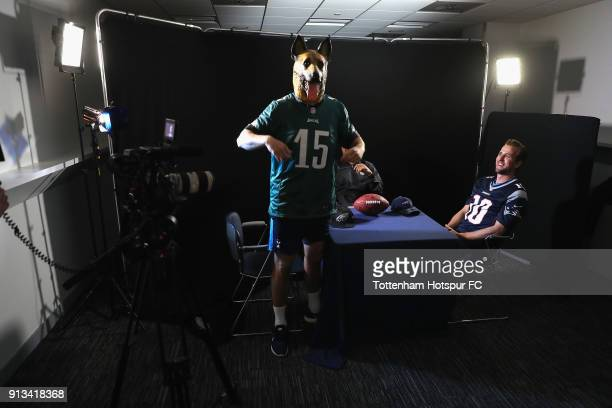 Tottenham Hotspur players and NFL fans Eric Dier and Harry Kane with former NFL cornerback Jason Bell filming ahead of this weekend's Super Bowl LII...