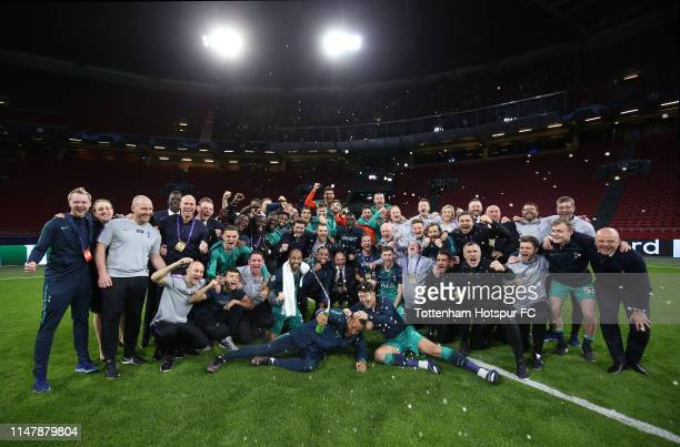 Tottenham Hotspur players and staff celebrate during the UEFA Champions League Semi Final second leg match between Ajax and Tottenham Hotspur at the...