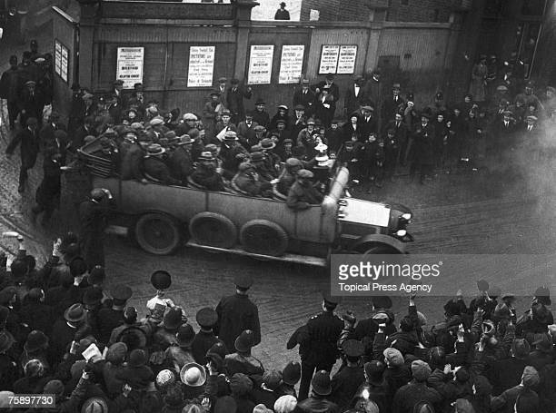 Tottenham Hotspur players are driven through the streets in a charabanc with the FA Cup on display after their victory over Wolverhampton Wanderers...