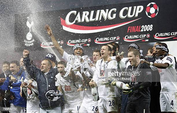 Tottenham Hotspur players celebrate after winning the Carling Cup Final against Chelsea at Wembley Stadium in London on February 24 2008 Tottenham...