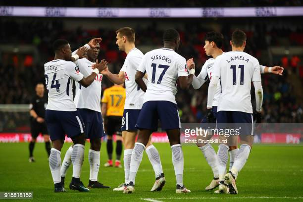 Tottenham Hotspur players celebrate the opening goal during the Emirates FA Cup Fourth Round Replay between Tottenham Hotspur and Newport County at...
