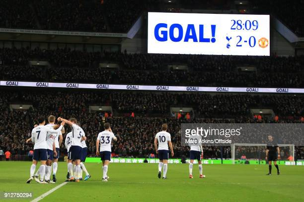 Tottenham Hotspur players celebrate their 2nd goal during the Premier League match between Tottenham Hotspur and Manchester United at Wembley Stadium...