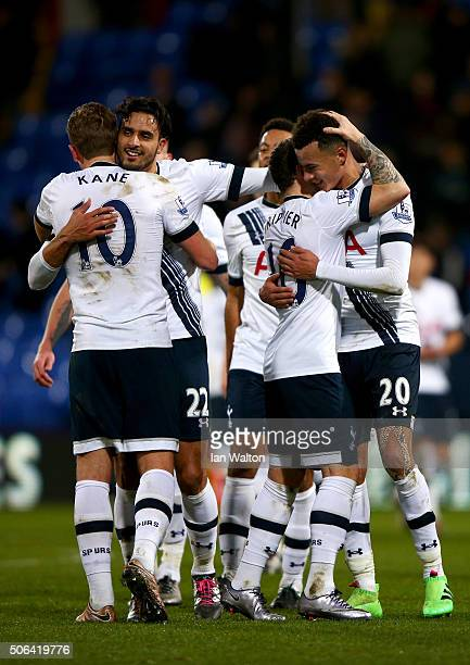 Tottenham Hotspur players celebrate their 31 win in the Barclays Premier League match between Crystal Palace and Tottenham Hotspur at Selhurst Park...
