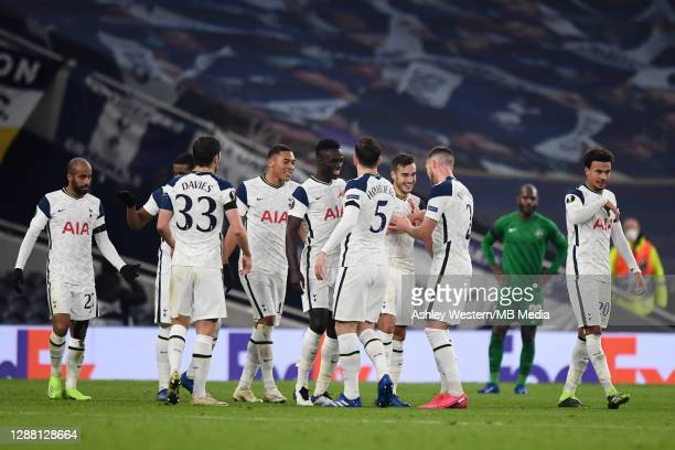 Tottenham Hotspur players celebrate their 3rd goal scored by Harry Winks during the UEFA Europa League Group J stage match between Tottenham Hotspur...