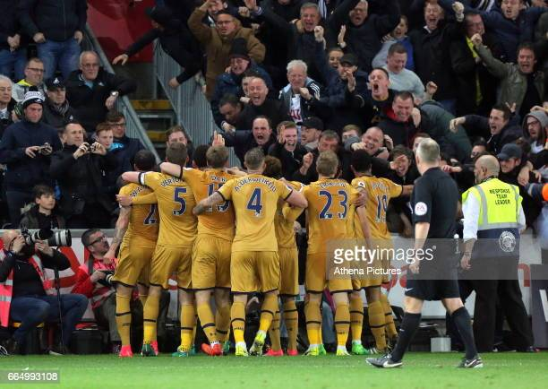 Tottenham Hotspur players celebrate their second goal during the Premier League match between Swansea City and Tottenham Hotspur at The Liberty...