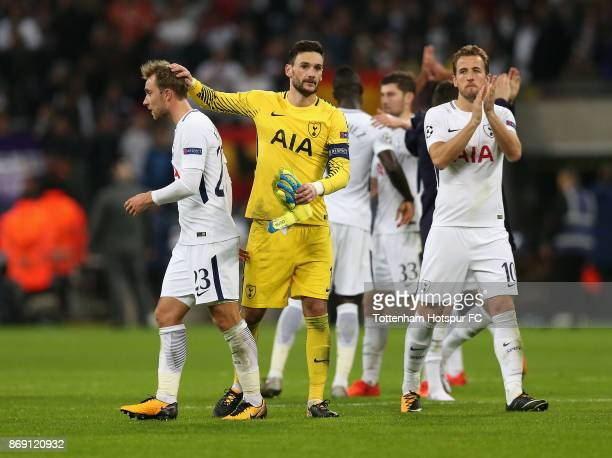 Tottenham Hotspur players celebrate their win following the UEFA Champions League group H match between Tottenham Hotspur and Real Madrid at Wembley...