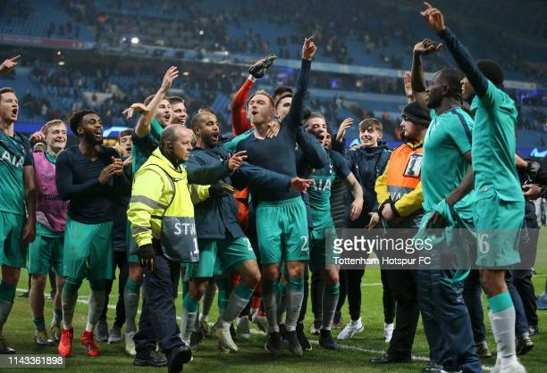 Tottenham Hotspur players celebrate victory at fulltime after the UEFA Champions League Quarter Final second leg match between Manchester City and...