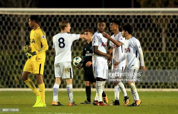 Tottenham Hotspur players celebrate victory during the UEFA Youth League group H match between Tottenham Hotspur and Real Madrid at the Tottenham...