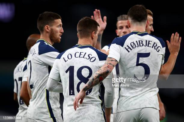Tottenham Hotspur players celebrate with Giovani Lo Celso during the UEFA Europa League playoff match between Tottenham Hotspur and Maccabi Haifa at...